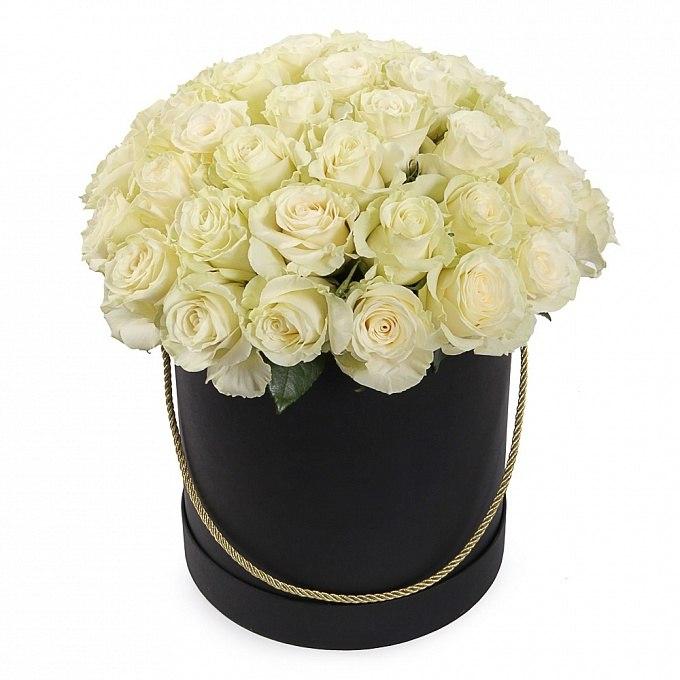 Şık pembe beyaz buket Kutuda Beyaz Güller