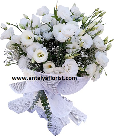 antalya flowers shop White Lisyantus Bouquet