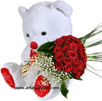 antalya flowers shop Teddy Bear&35 Red Roses