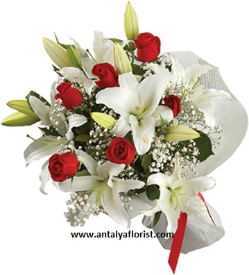 antalya flowers shop 5pc White Lilium & 7pc Red Rose Bouquet