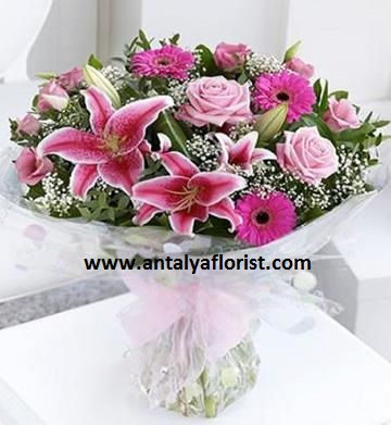 antalya flowers shop Lily Gerbera Rose Bouquet