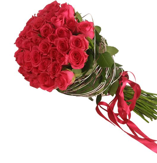 beyaz lilyum ve kırmızı gül buket 41 шт Роза красная