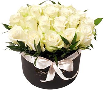 beyaz  lisyantus buketi  Коробка Роза белая 25шт