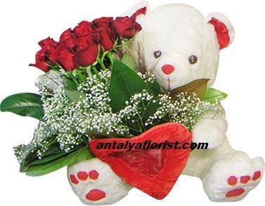 kutuda 25 adet pembe gül Kırmızı Beyaz Ayıcık ve Güller